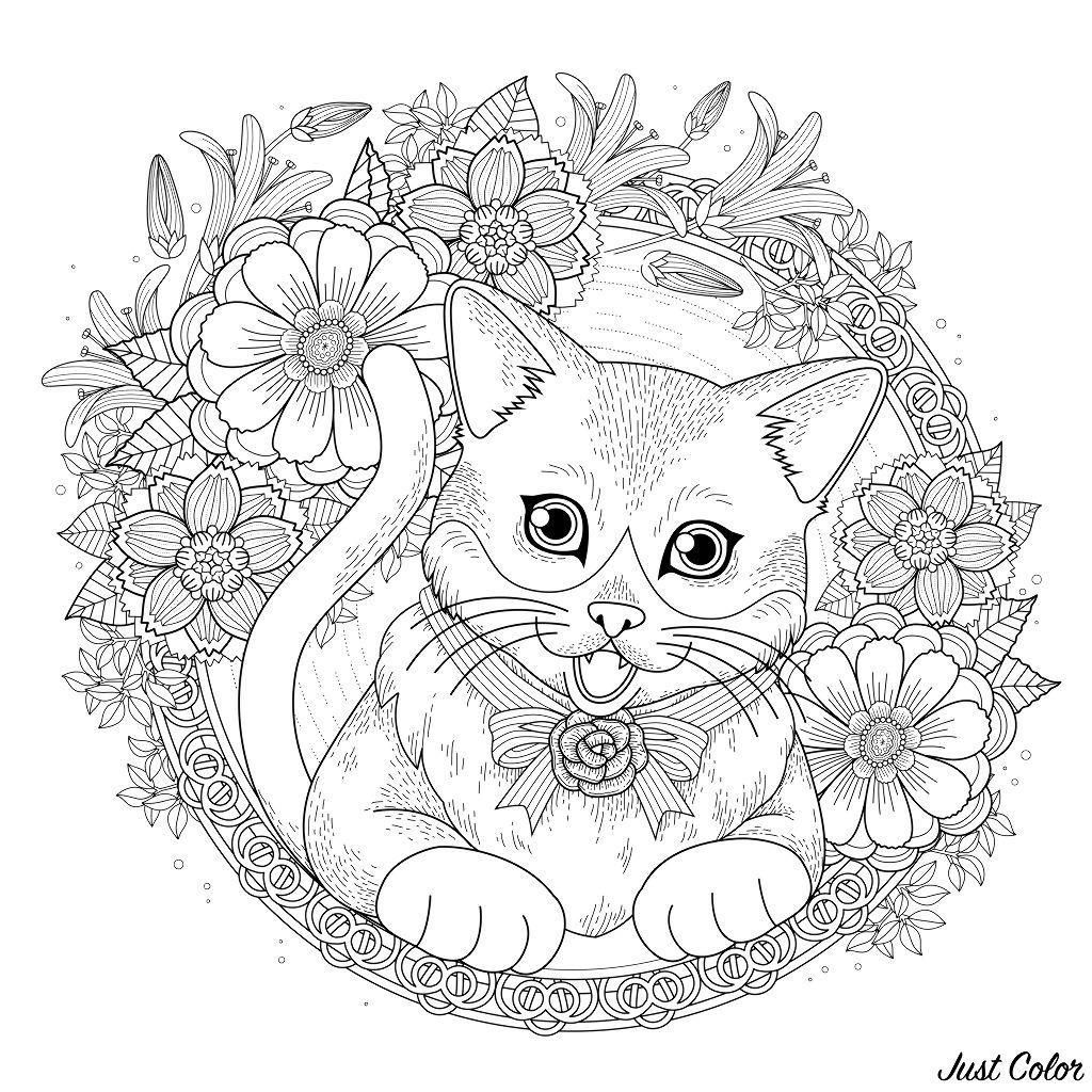 Adorable coloriage de chat avec une couronne de fleurs.