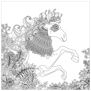 Coloriage cheval et elements floraux