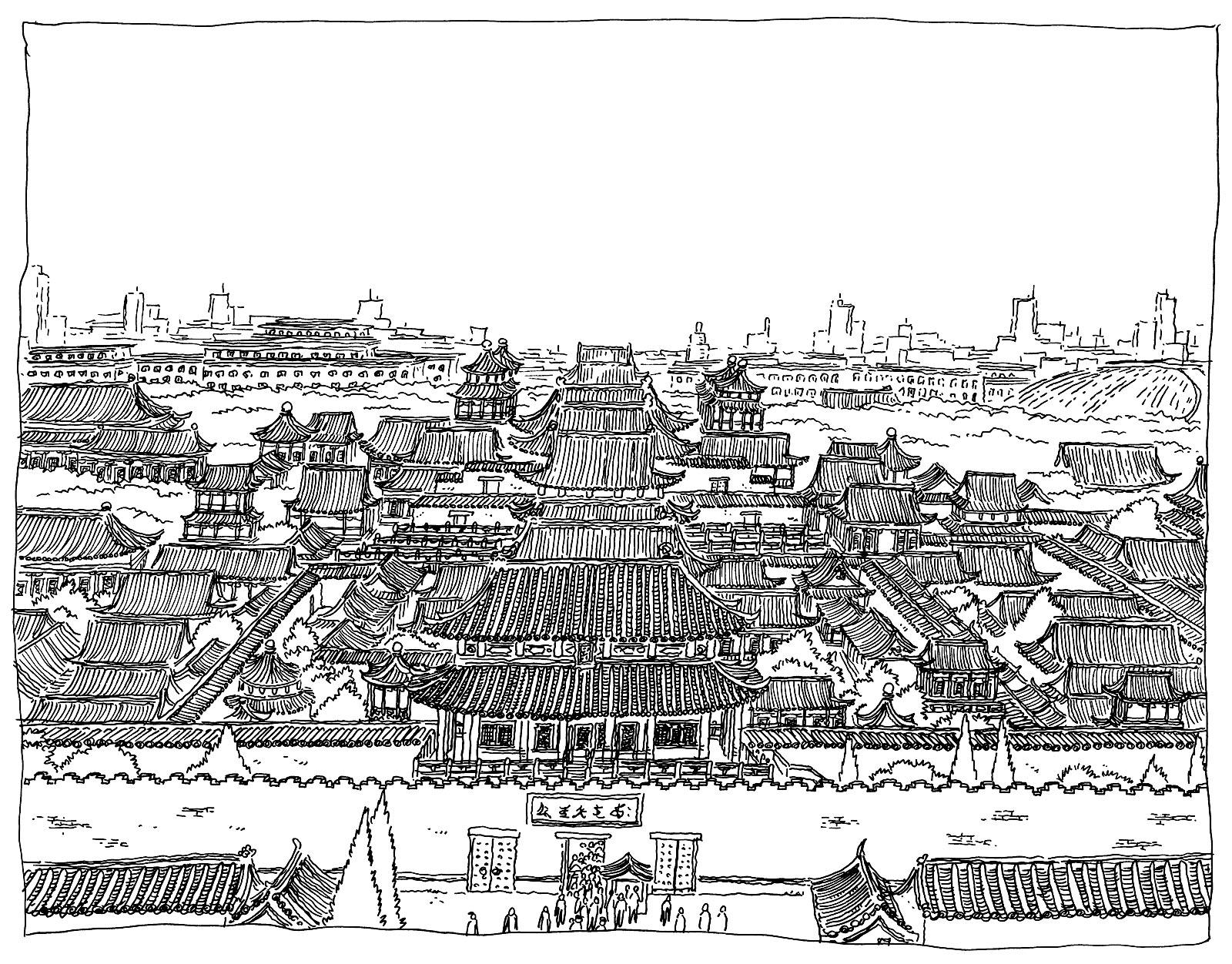 Dessin aux nombreux détails de la Cité interdite (par Pirlouit72)