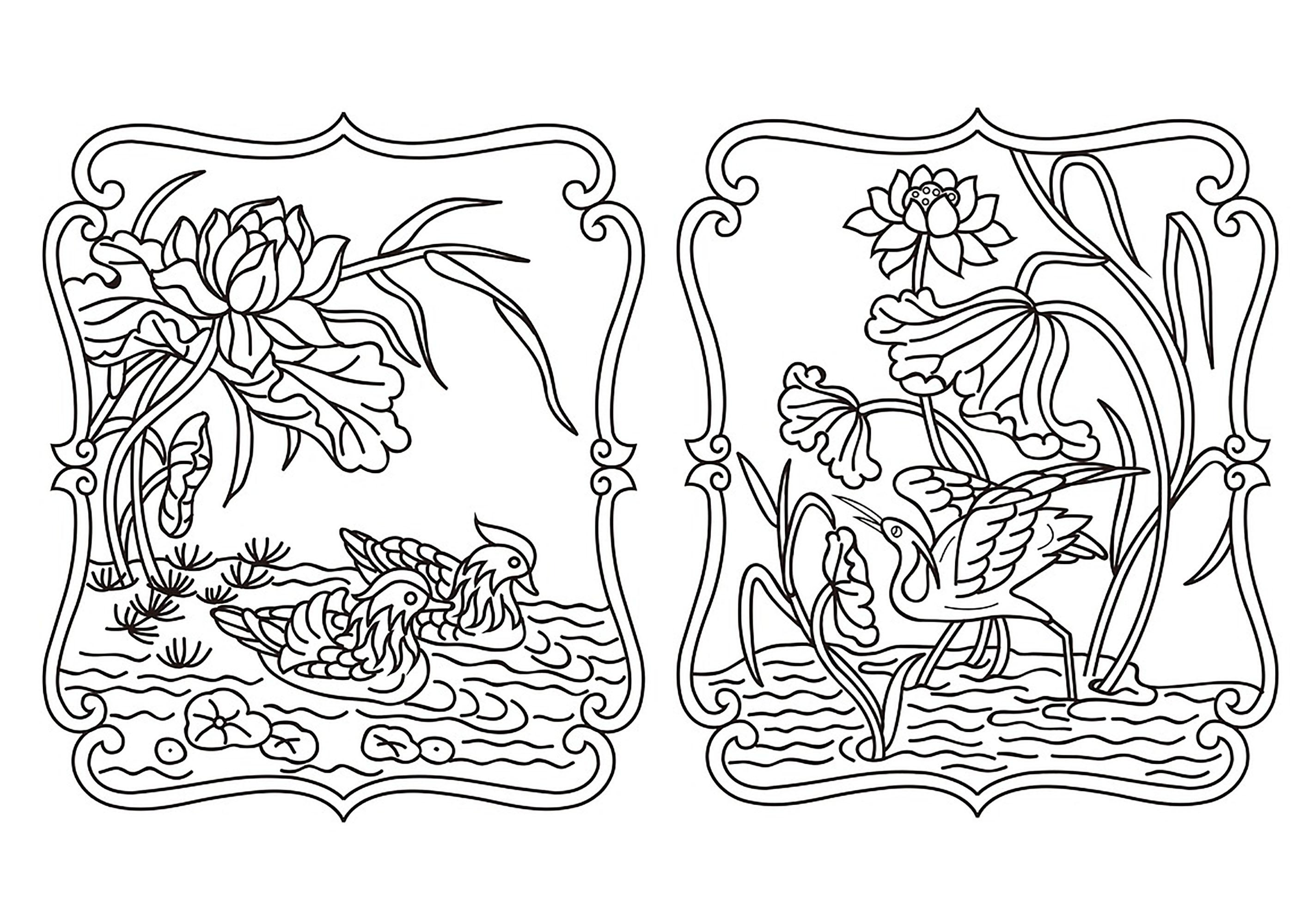 Joli dessin chinois avec des canards et un héron