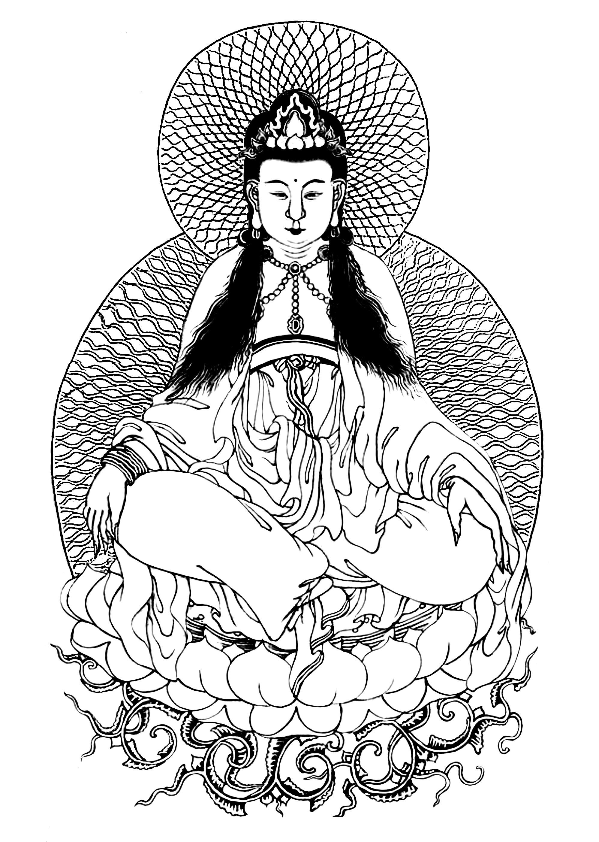 Guanyn : La déesse bouddhiste de la Miséricorde (inspiré par une peinture de Xingru Wang)