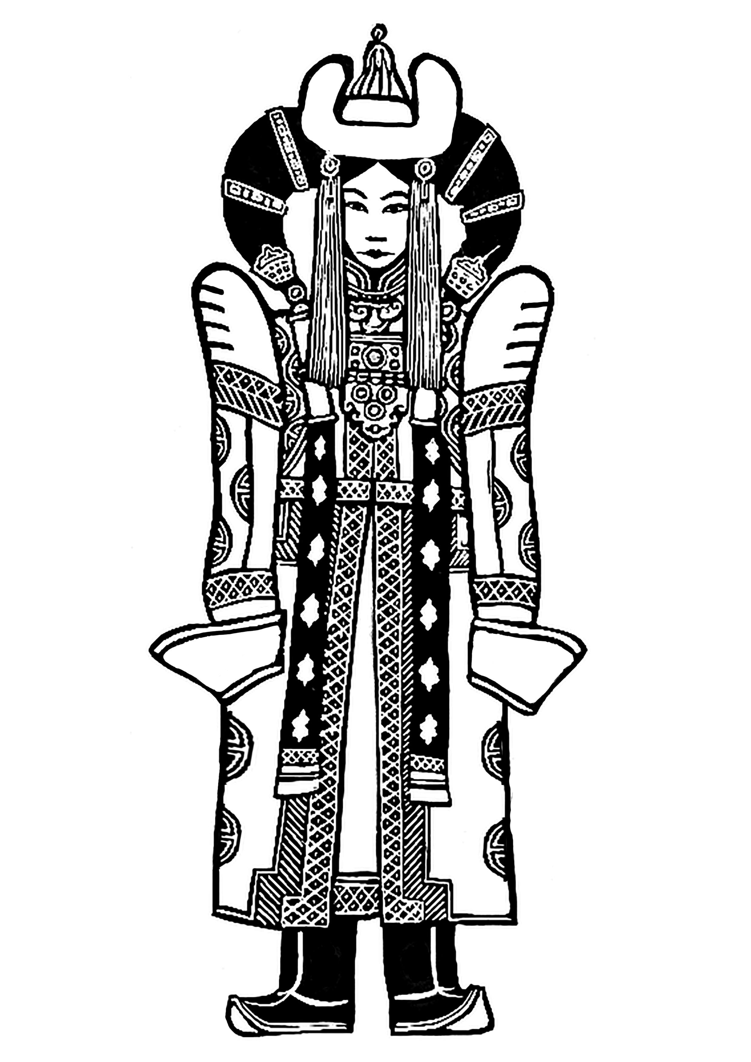 Tenue traditionnelle et impériale Mongole (11e / 12e siècle). A inspiré Georges Lucas pour la tenue de Padmé dans Star Wars Episode 1 !