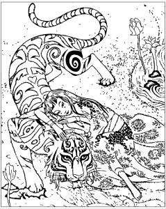 Coloriage adulte chine inspire livre tigre le devoue de qifeng shen
