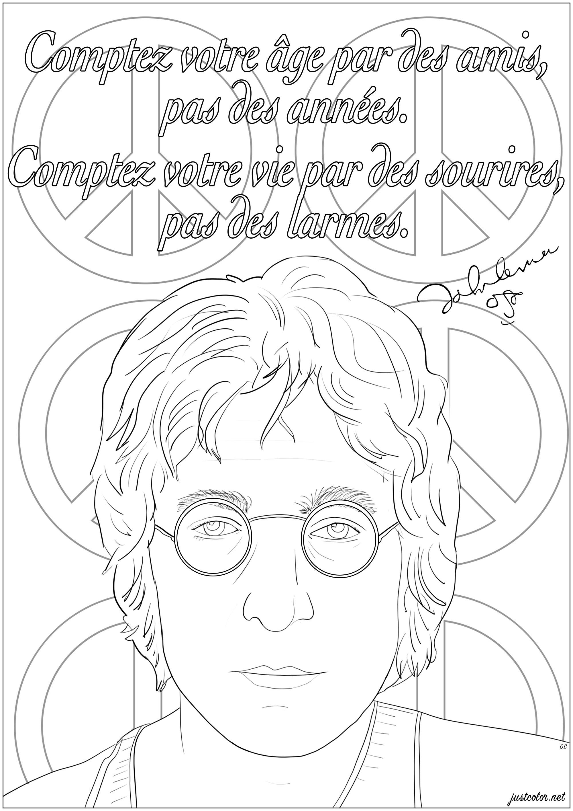 Coloriage d'un portrait de John Lennon avec sa citation : 'Comptez votre âge par des amis, pas des années. Comptez votre vie par des sourires, pas des larmes.'