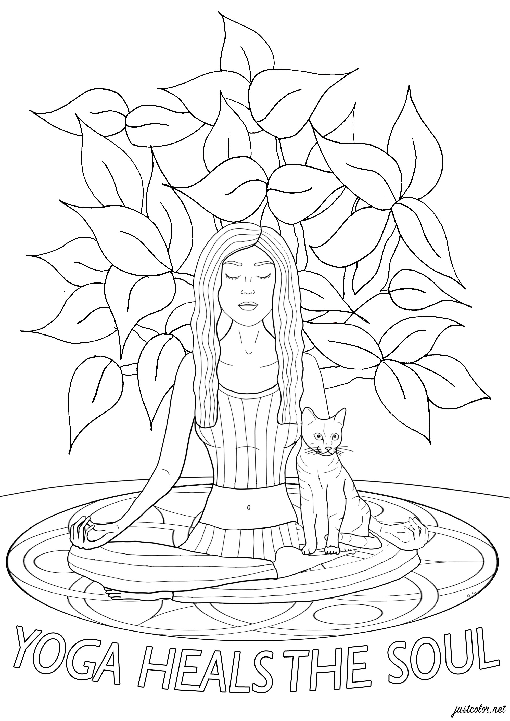 Femme faisant une séance de Yoga avec son chat, et texte 'Yoga heals the soul' (le Yoga soigne l'âme)