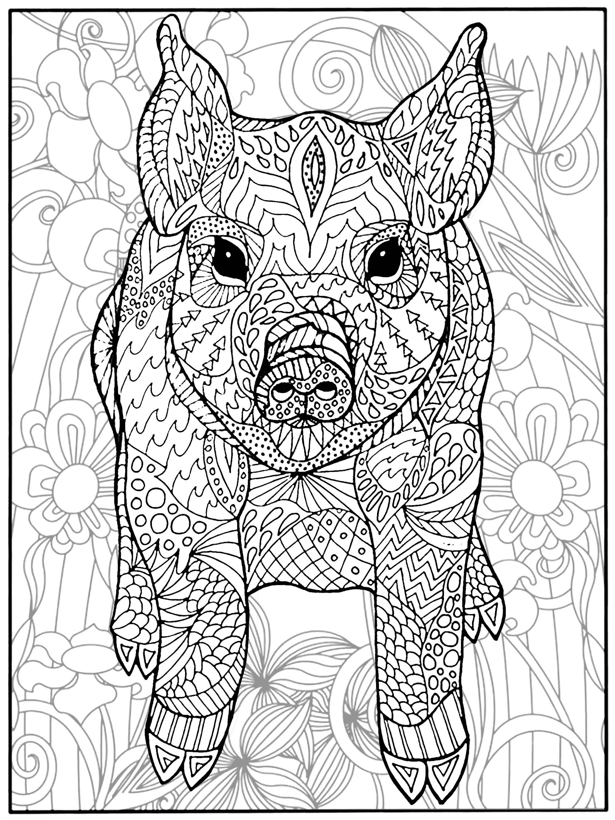 Cochon et fleurs | Cochons - Coloriages difficiles pour adultes