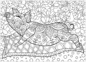 Coloriage cochon sur tapis fond fleurs