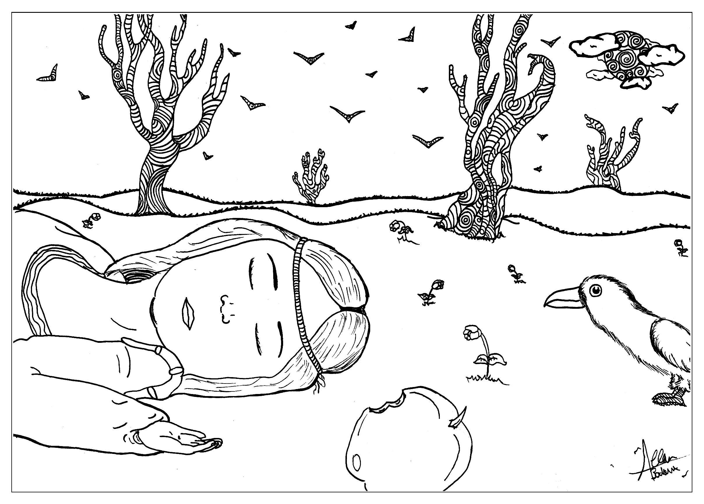 Voici notre coloriage sur 'Blanche Neige'. cette scène évoque le moment où elle a croqué la pomme empoisonnée de la sorcière.