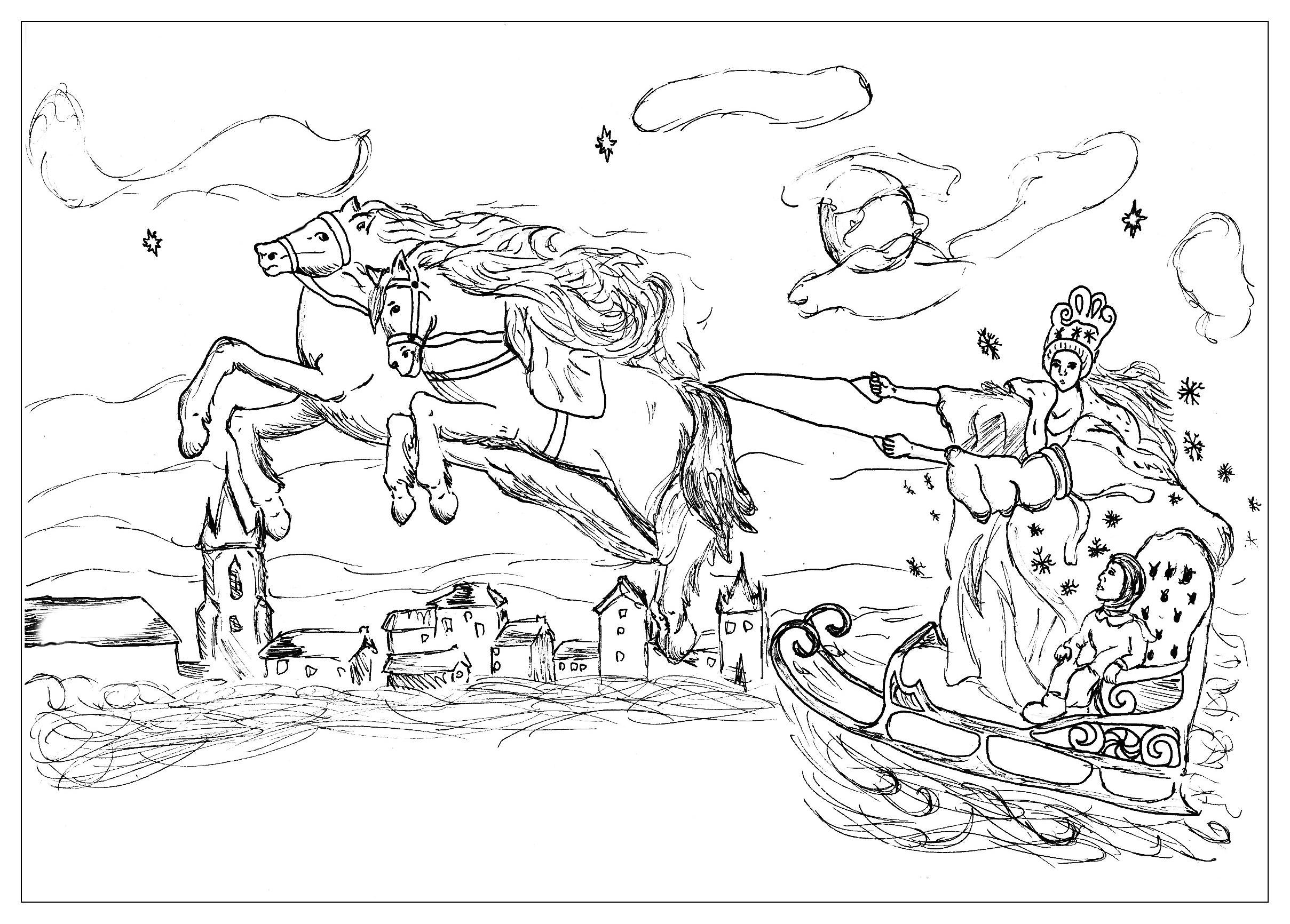 Voici un coloriage sur le compte original d'Andersen 'La Reine des Neiges'.