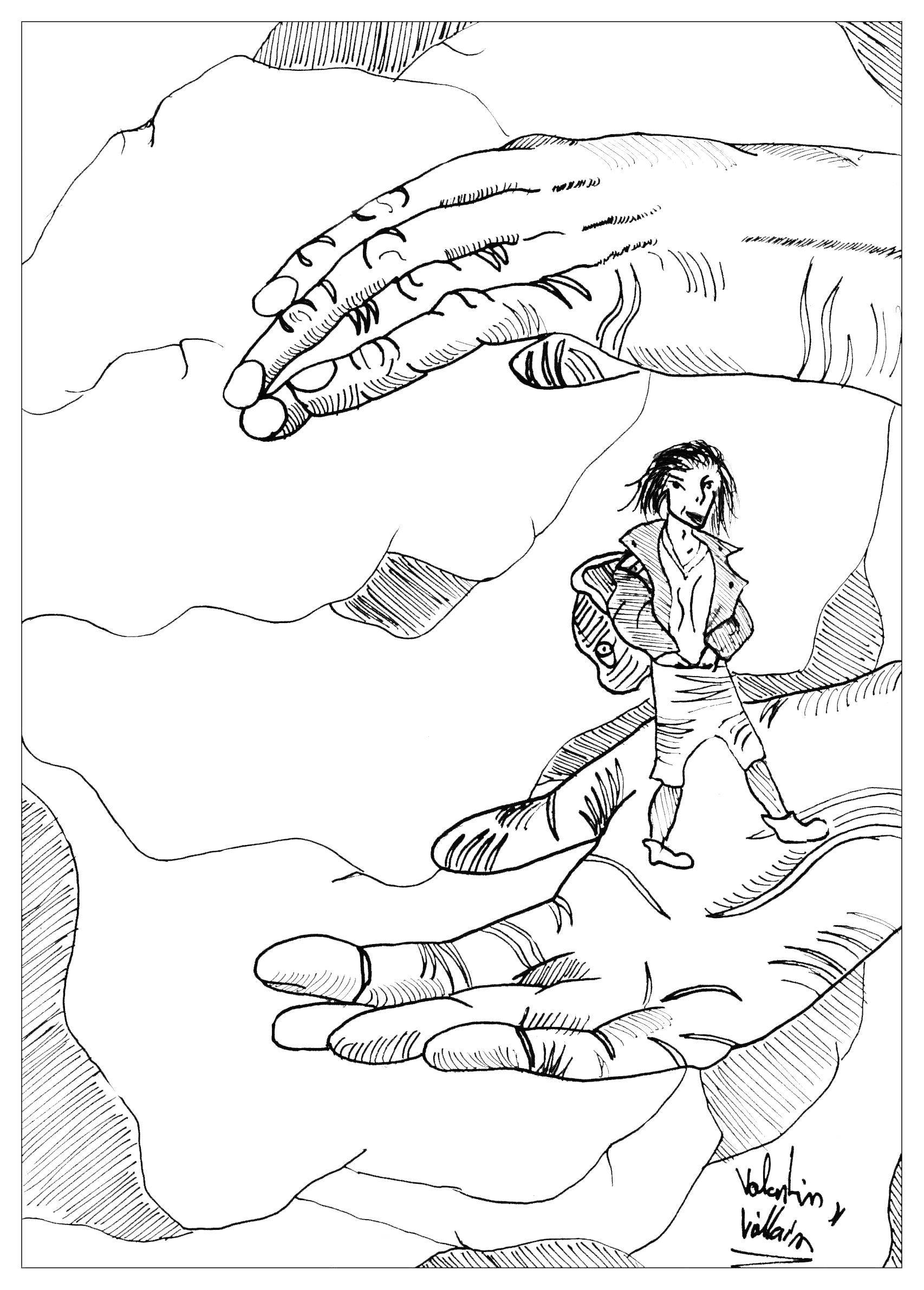 Nous vous présentons le coloriage de Tom Pouce, l'un des personnage des contes de Grimm les plus populaires.