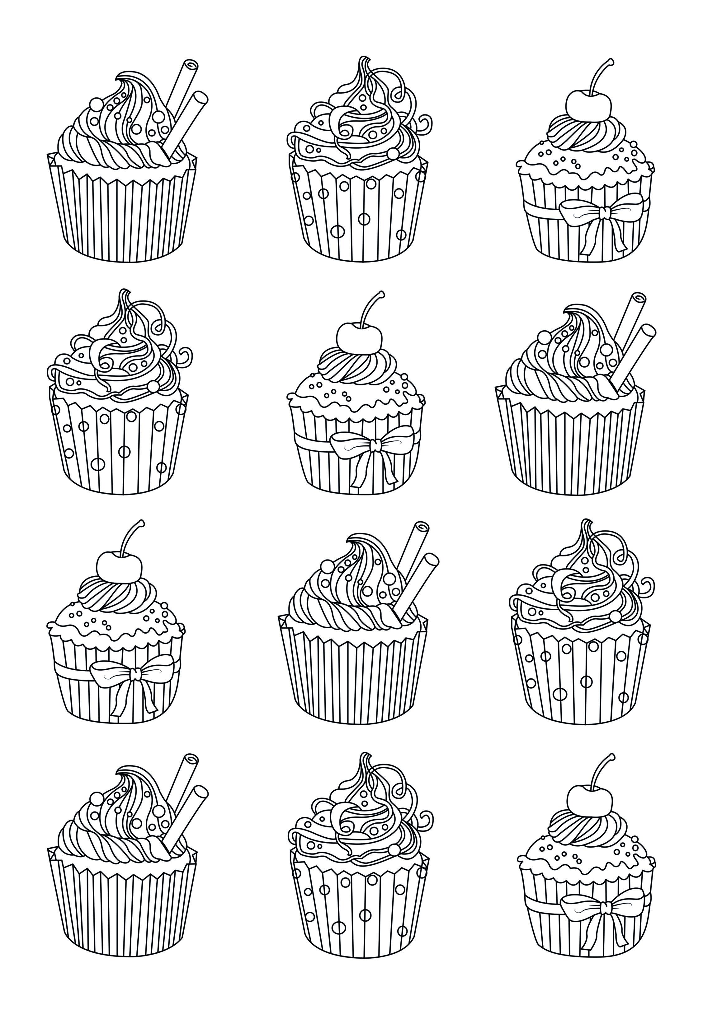 Coloriage Gateau Facile.Coloriage Adulte Cupcake