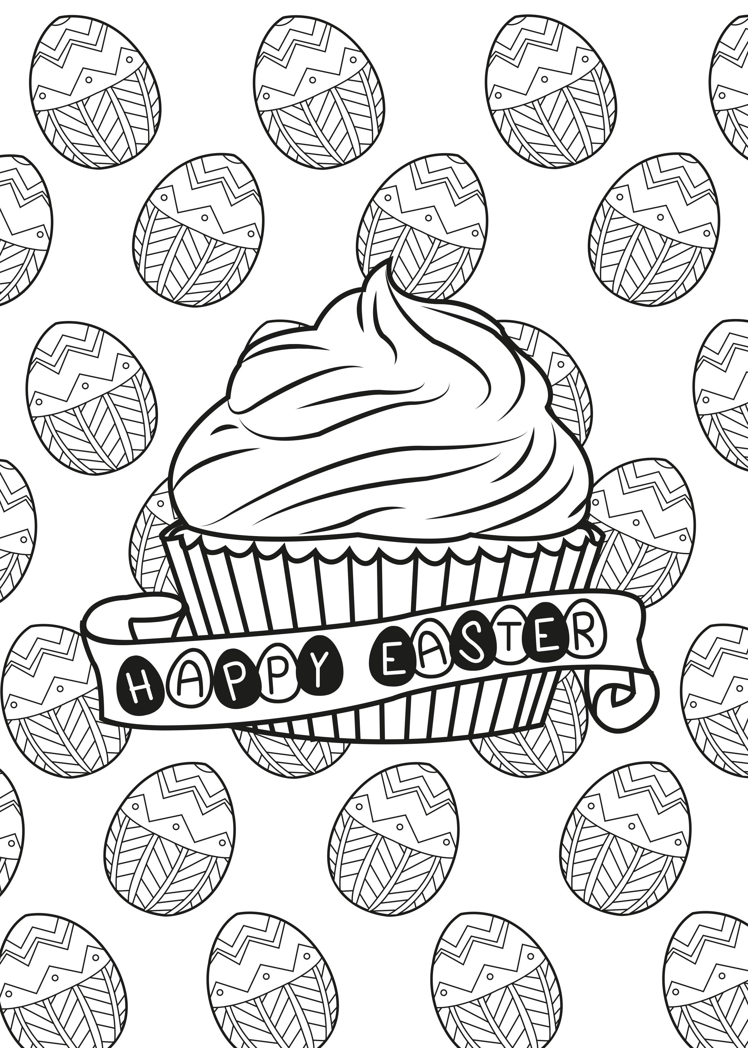 Coloriage d'un muffin spéciale pâques et les bons oeufs en chocolat en arrière plan !