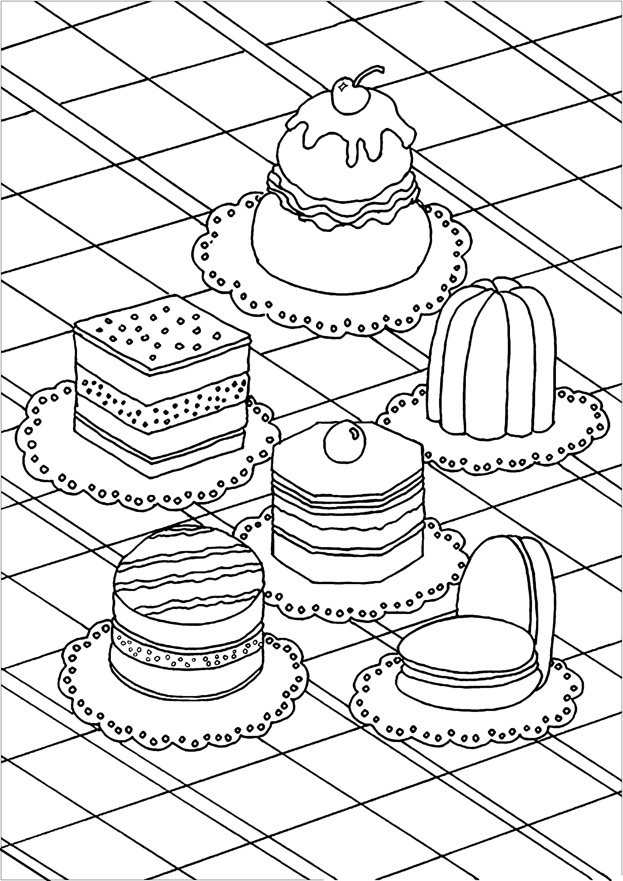 Régalez-vous en coloriant ces diverses pâtisseries