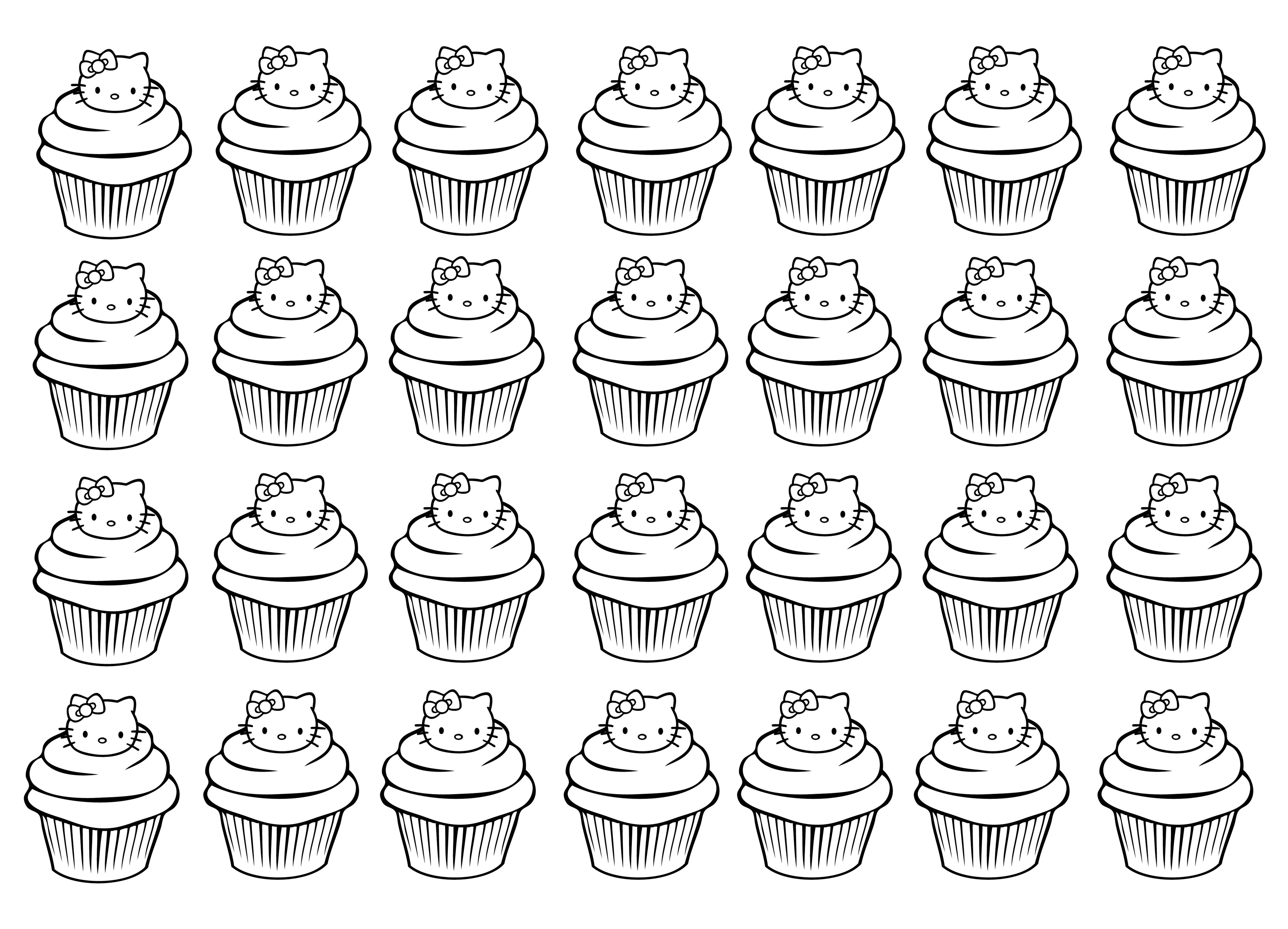 Cupcakes hello kitty complexe cupcakes et g teaux coloriages difficiles pour adultes - Colorier kitty ...