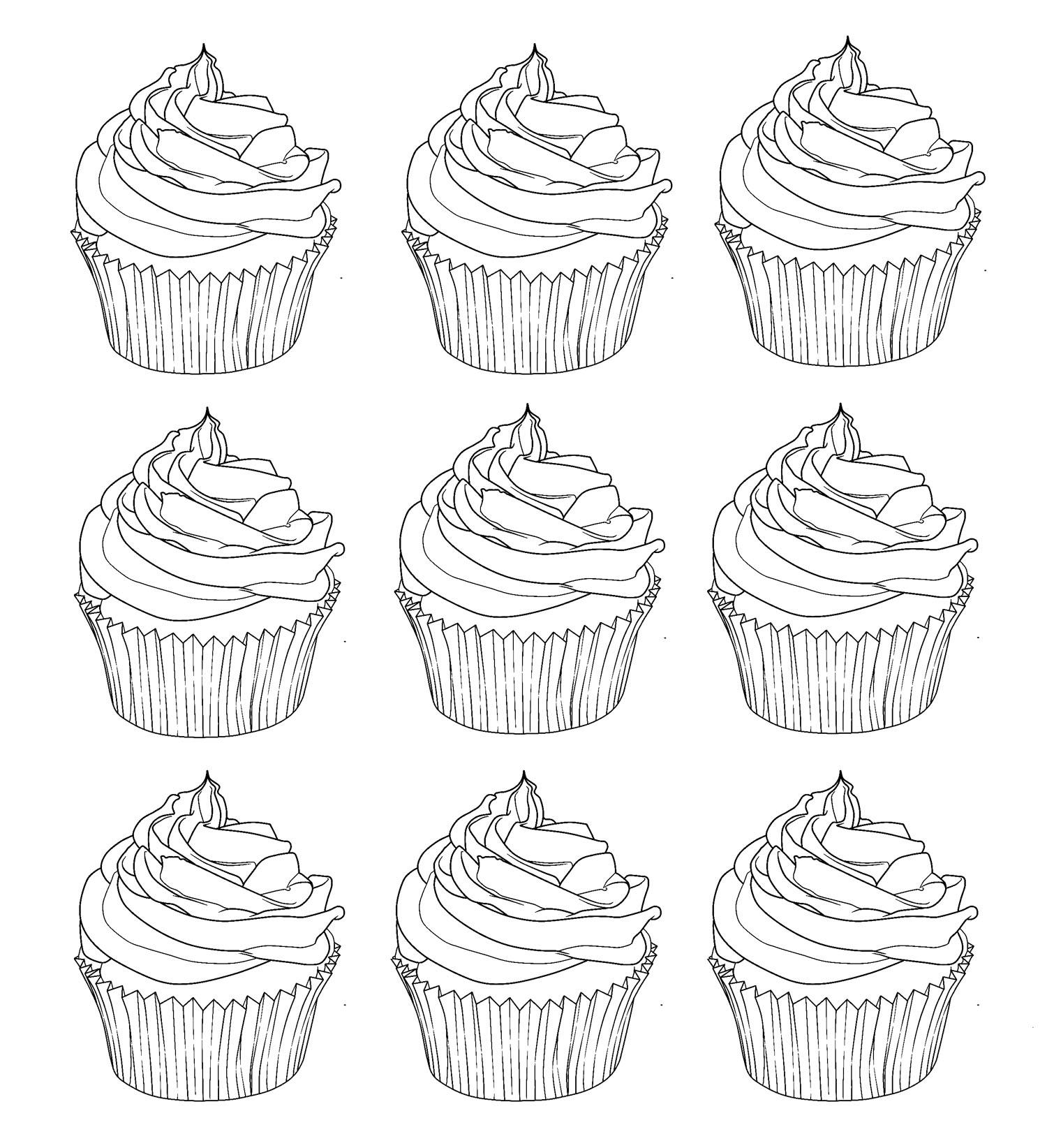 coloriage anti stress cupcake