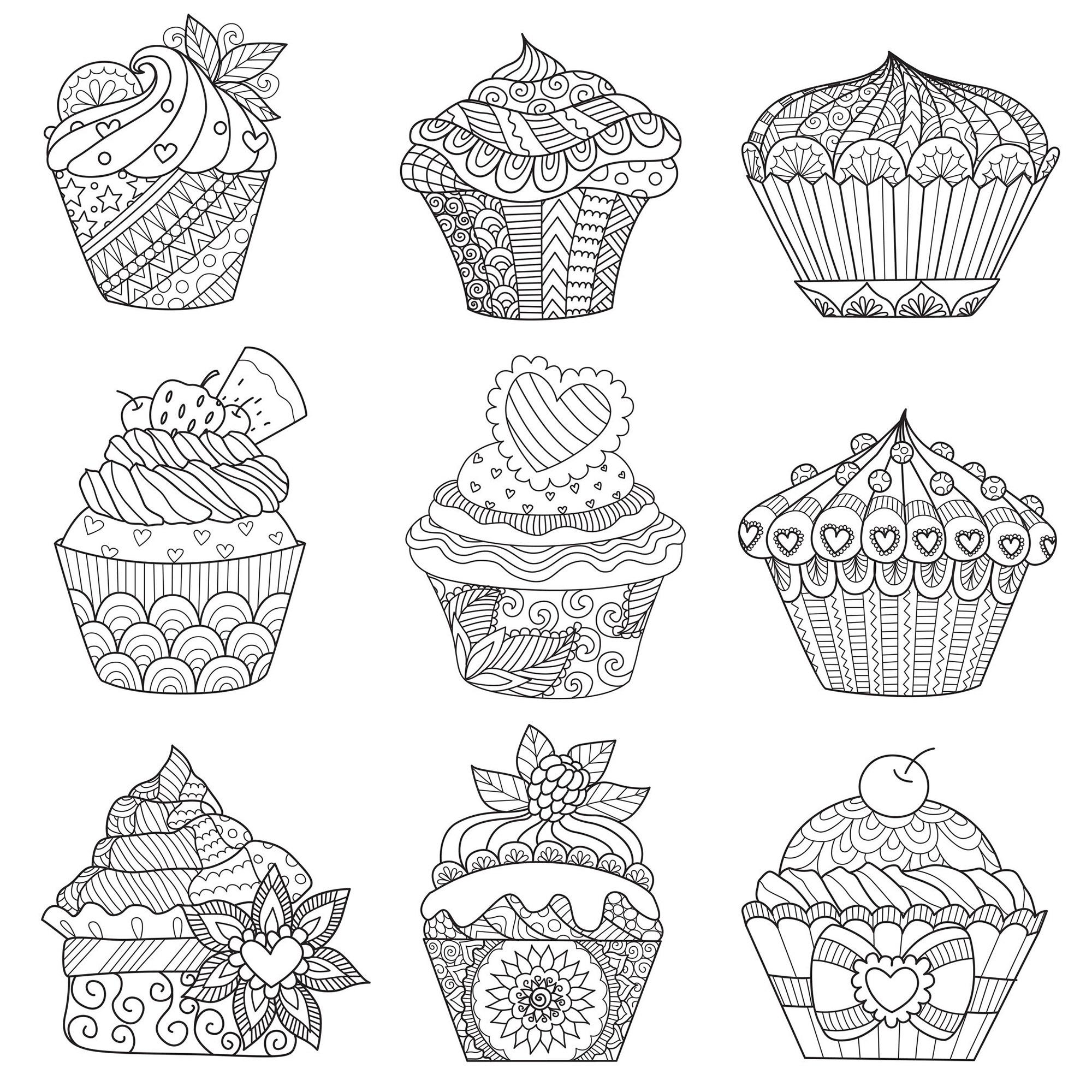 Assortiment de cupcakes - Cupcakes et gâteaux - Coloriages ...