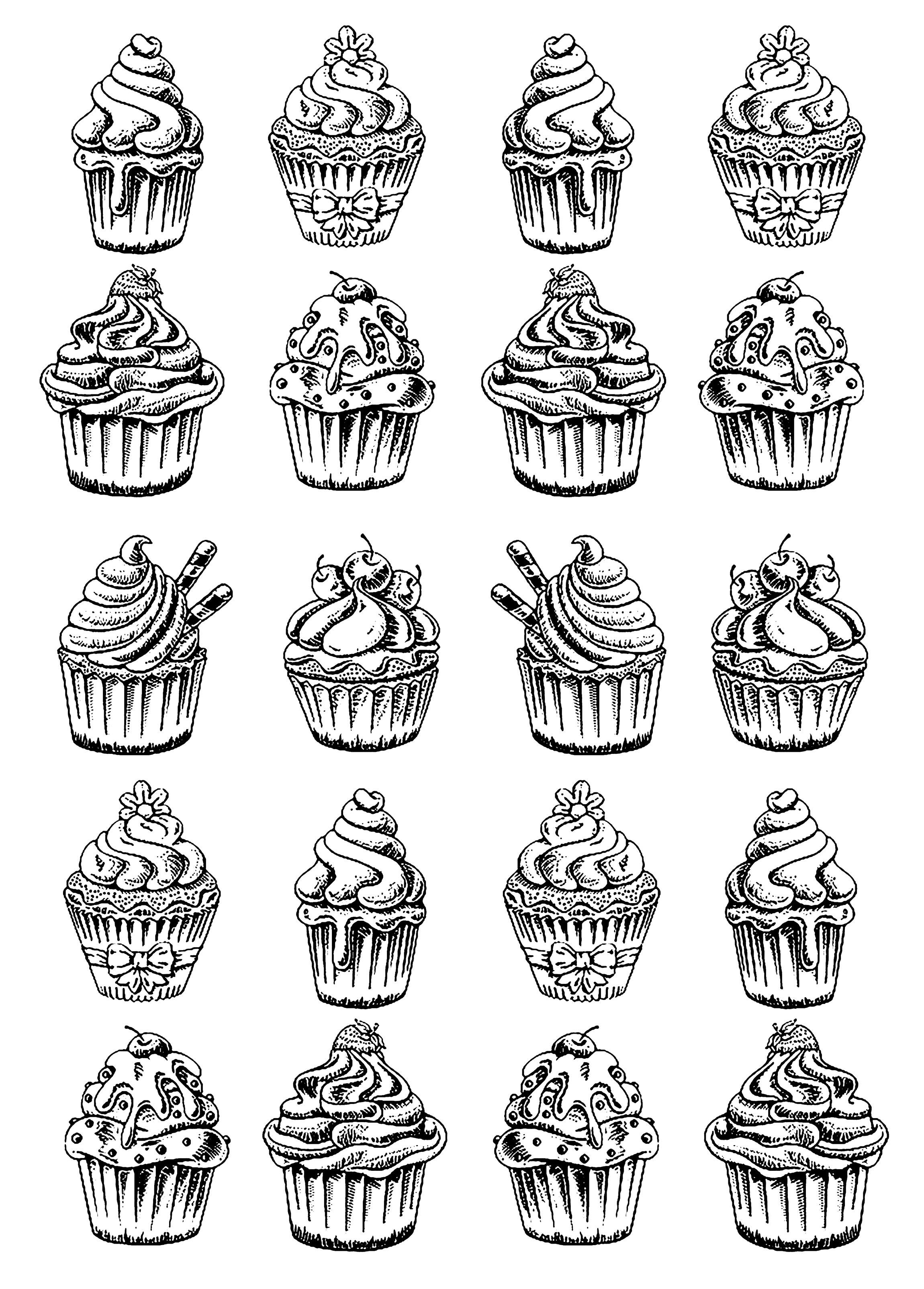 Vingt bons Cupcakes à colorier sans attendre