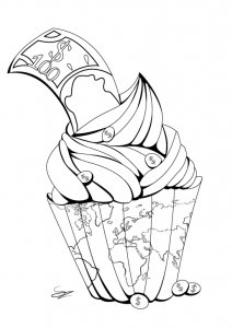 Coloriage adulte cupcake par Juline