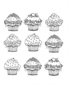 coloriage-a-imprimer-jolis-cupcakes free to print