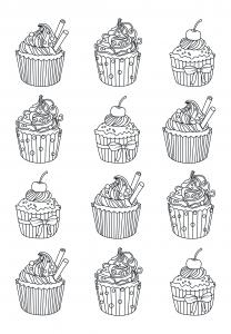 Coloriage-adulte-cupcakes-facile-zentangle-Celine free to print