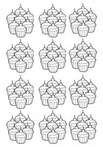 Coloriage adulte cupcakes mosaique
