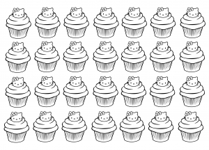 coloriage-cupcakes-hello-kitty-complexe free to print
