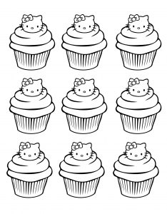 coloriage cupcakes hello kitty simple