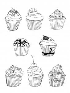 coloriage-gratuit-cupcakes free to print