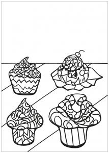 Coloriage livre gratuit cupcake 8