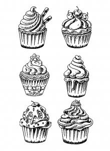 Coloriage six bons cupcakes
