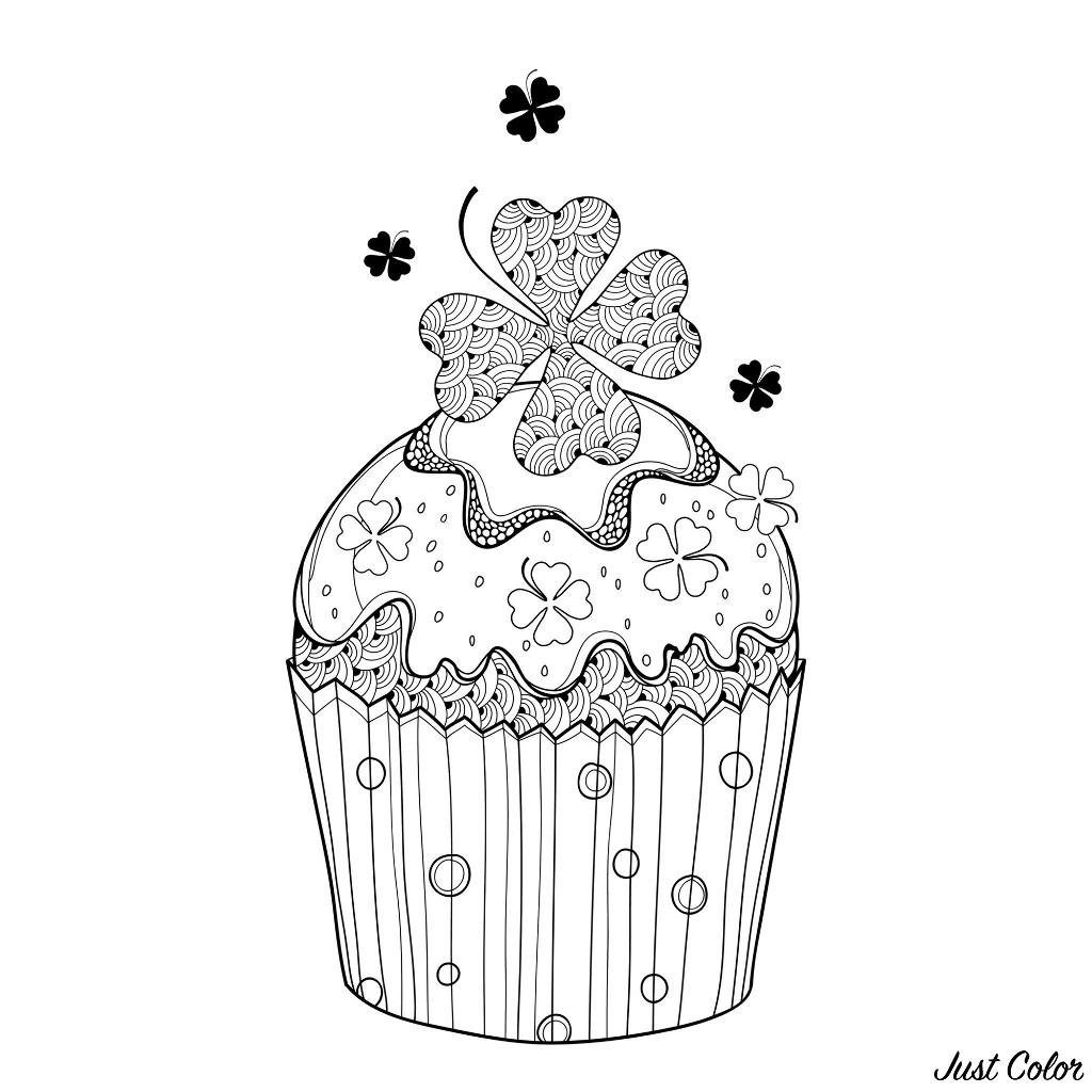 Il parait que colorier ce cupcake et son trèfle à quatre feuilles va vous donner chance...