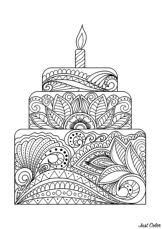 Gros Gâteau Fleuri Cupcakes Et Gâteaux Coloriages