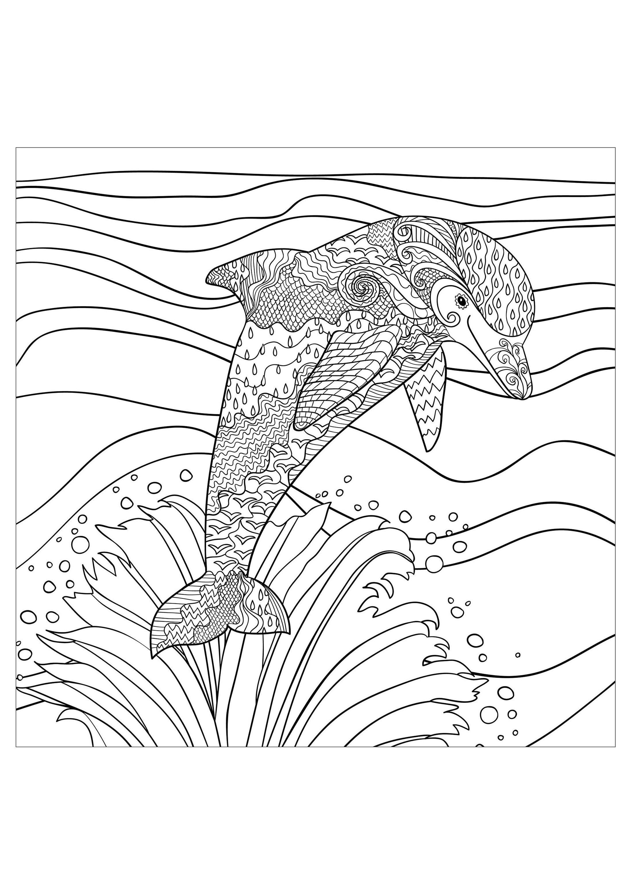 Dauphin vagues mer - Dauphins - Coloriages difficiles pour adultes