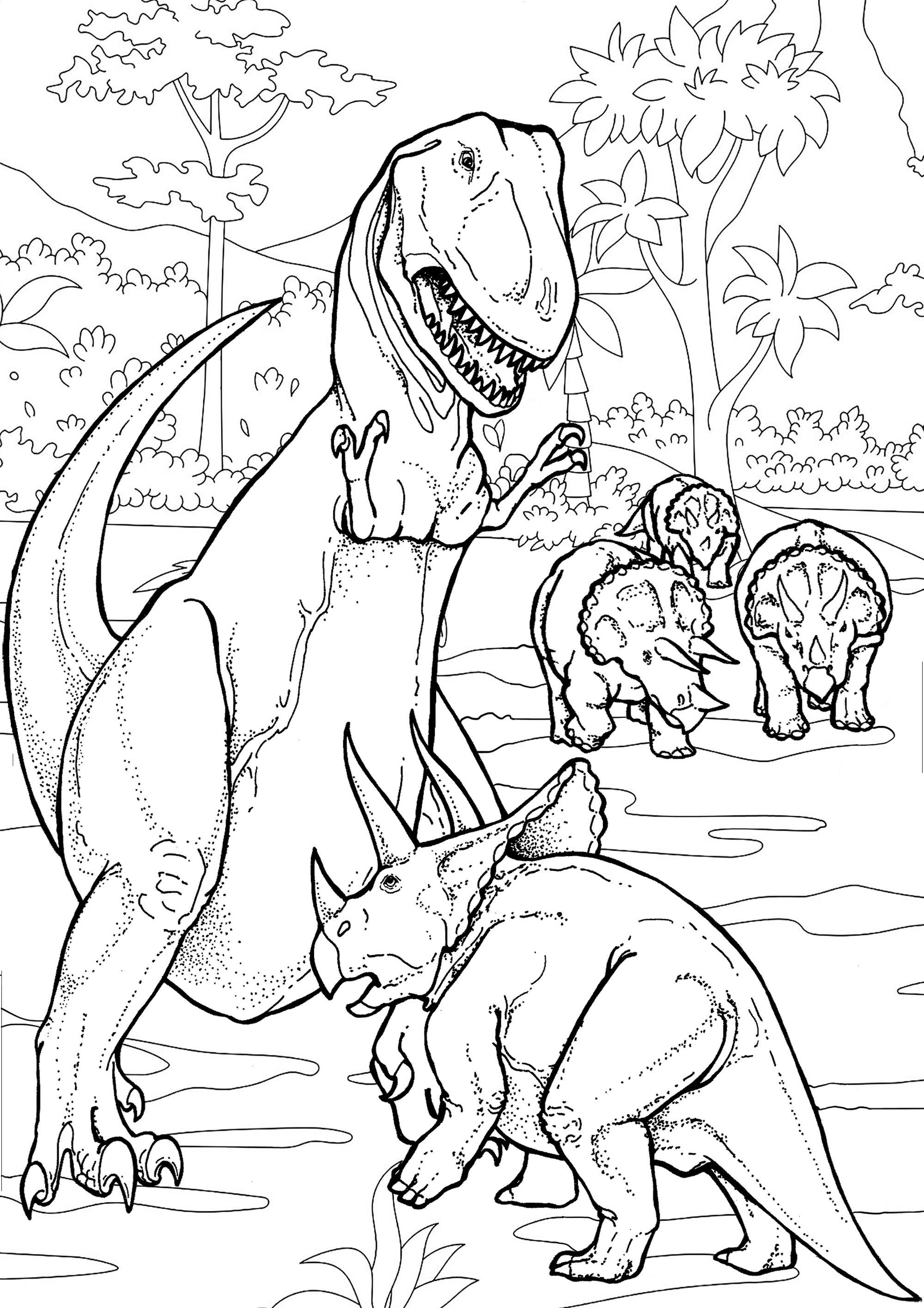 Coloriez cette bataille de Dinosaures