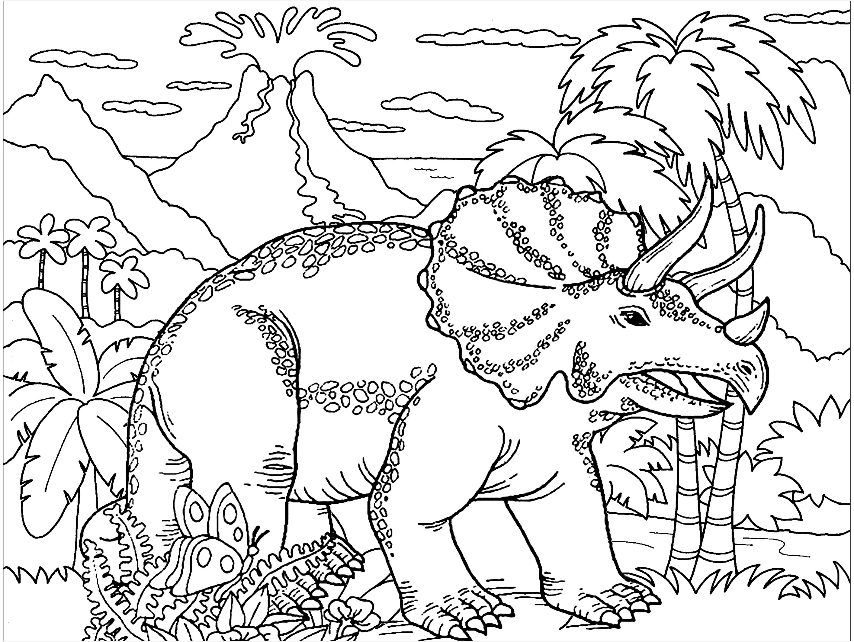 Coloriage Dinosaure Adulte.Triceratops Dinosaures Coloriages Difficiles Pour Adultes