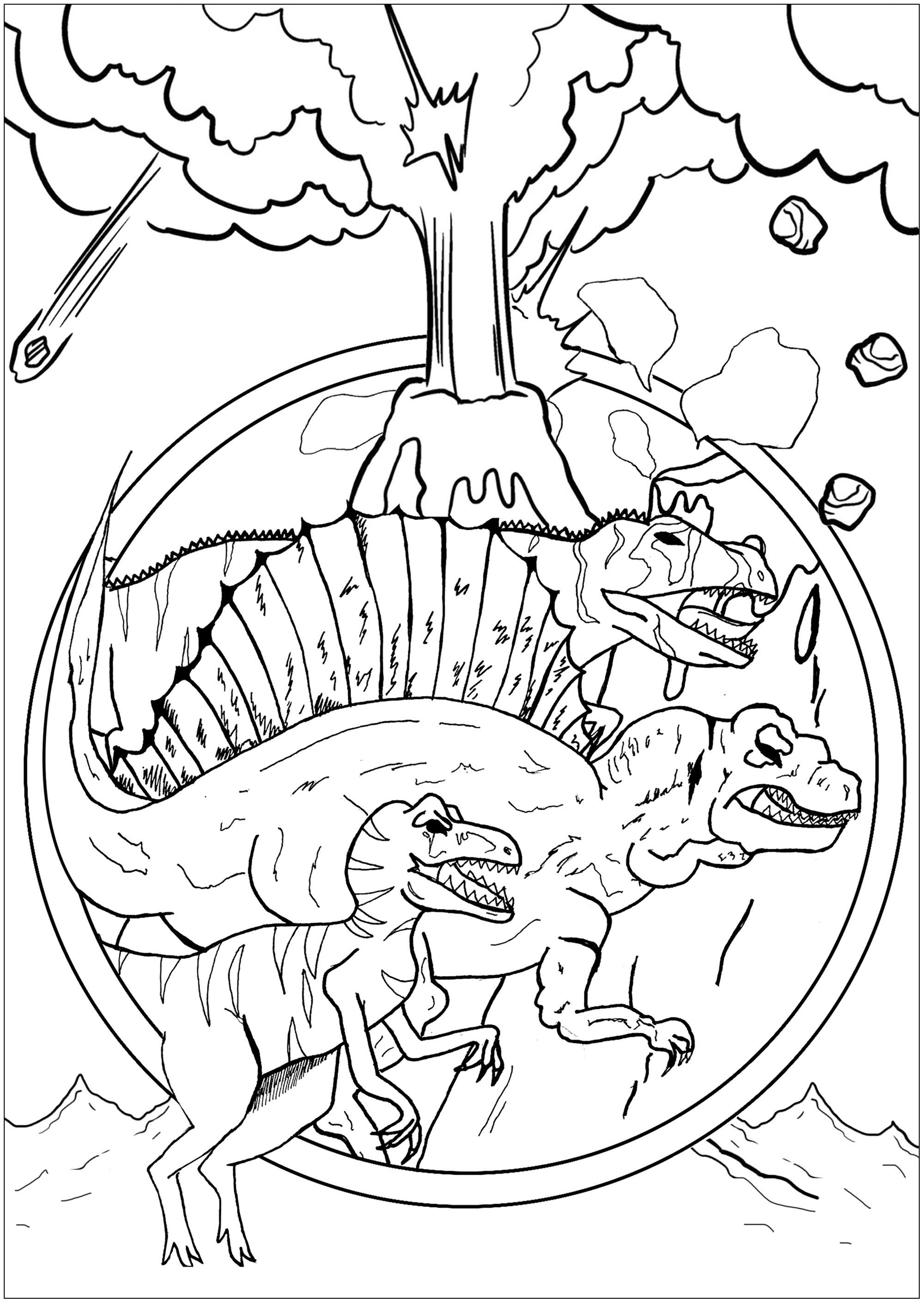 Trois dinosaures (Vélociraptor, Spinosaurus et Eocarcharia) menacés par un volcan en éruption
