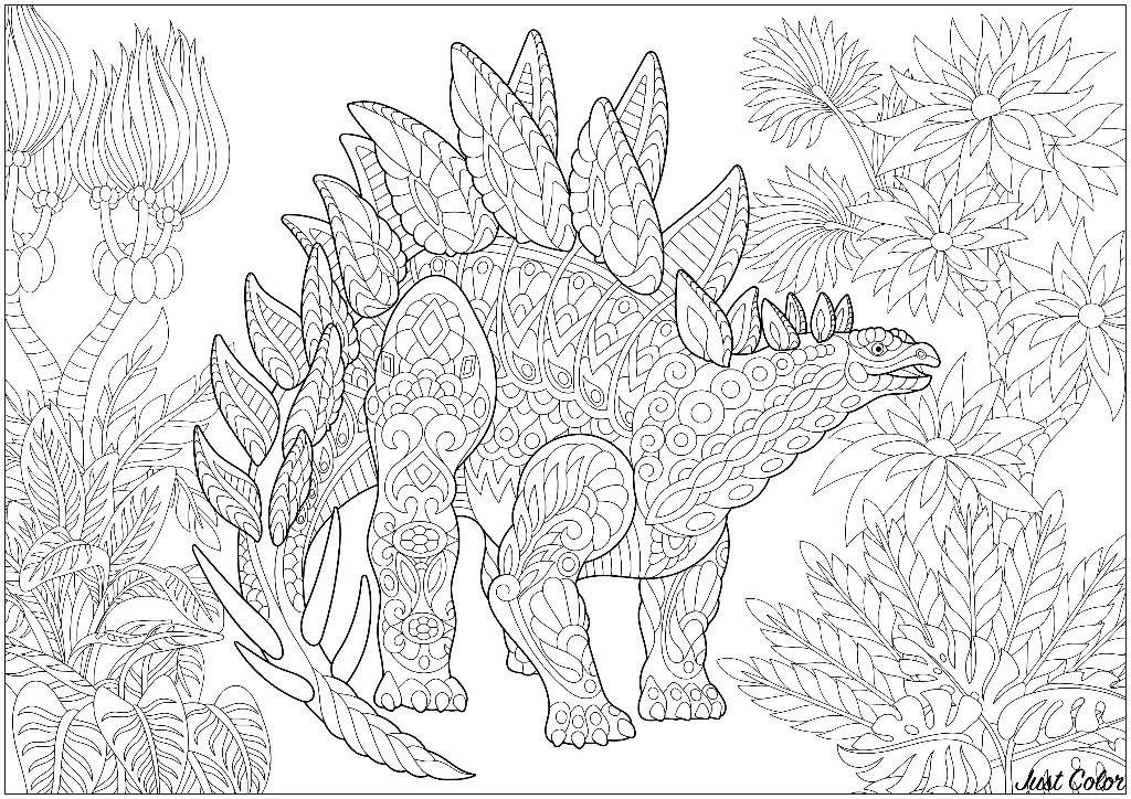 Coloriage Dinosaure Adulte.Stegosaure Stegosaurus Dinosaures Coloriages Difficiles Pour