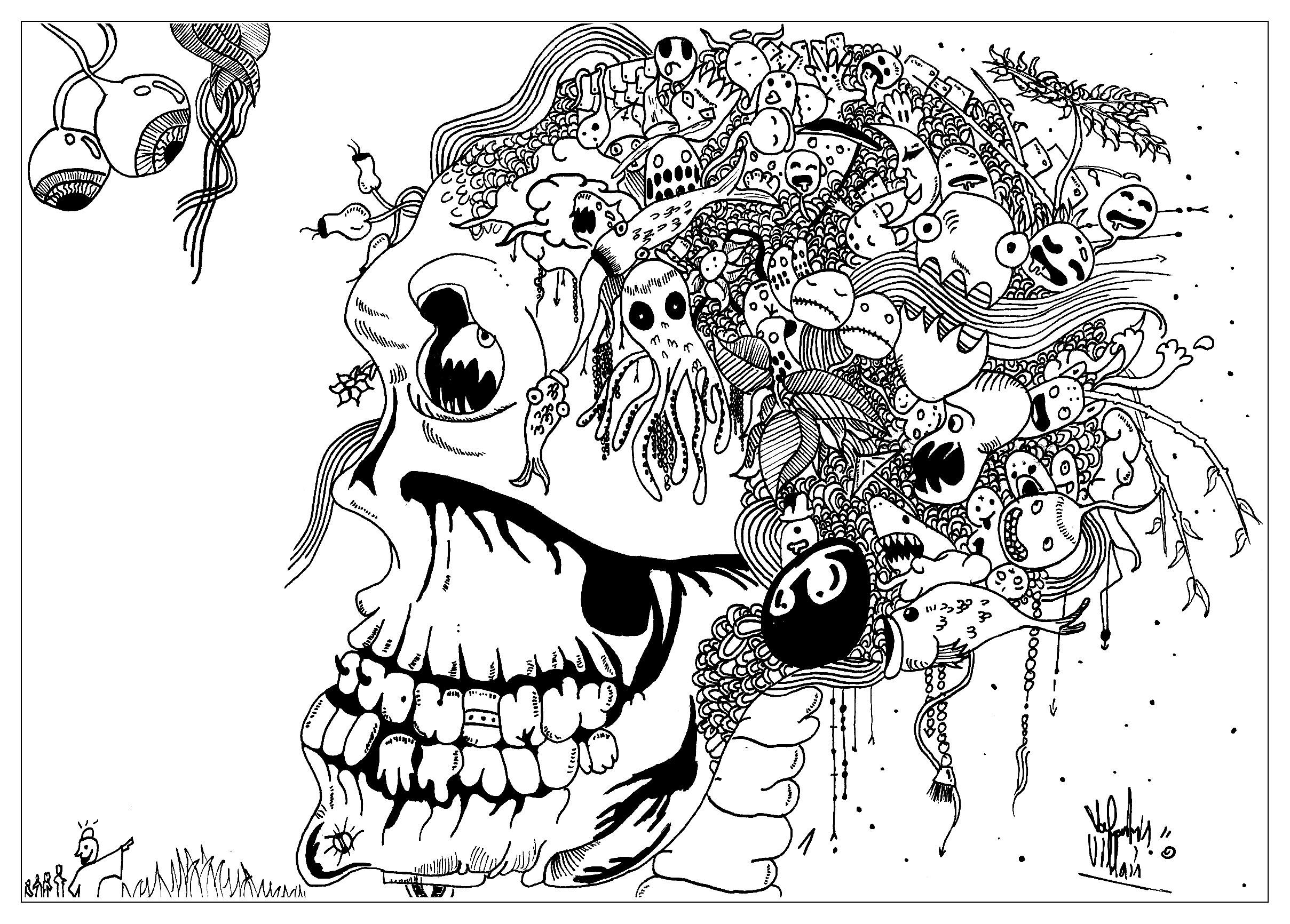 coloriage adulte dessin doodle tete de mort par