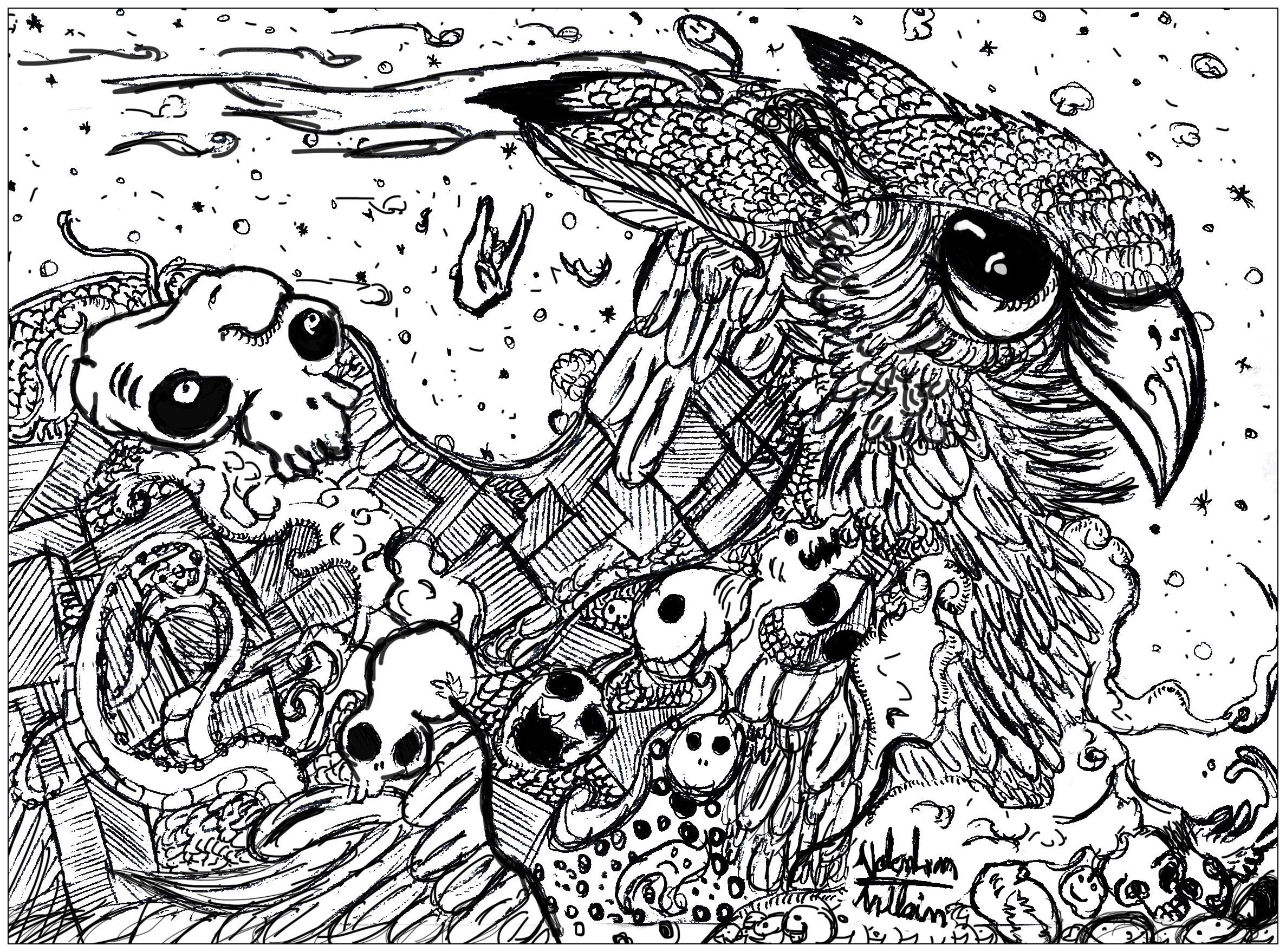 Un Doodle original representant un hibou
