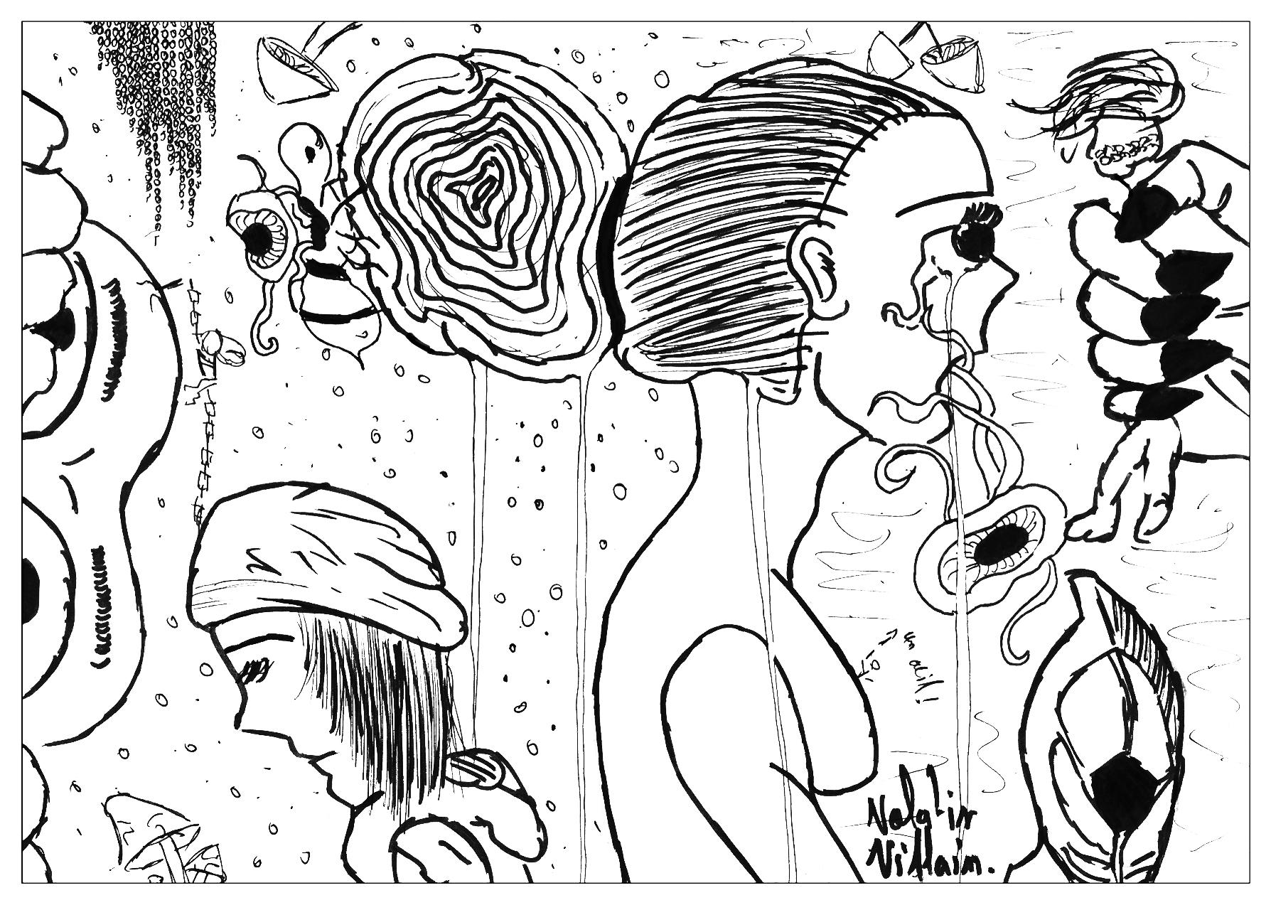 Coloriage adulte dessin Doodles par valentin