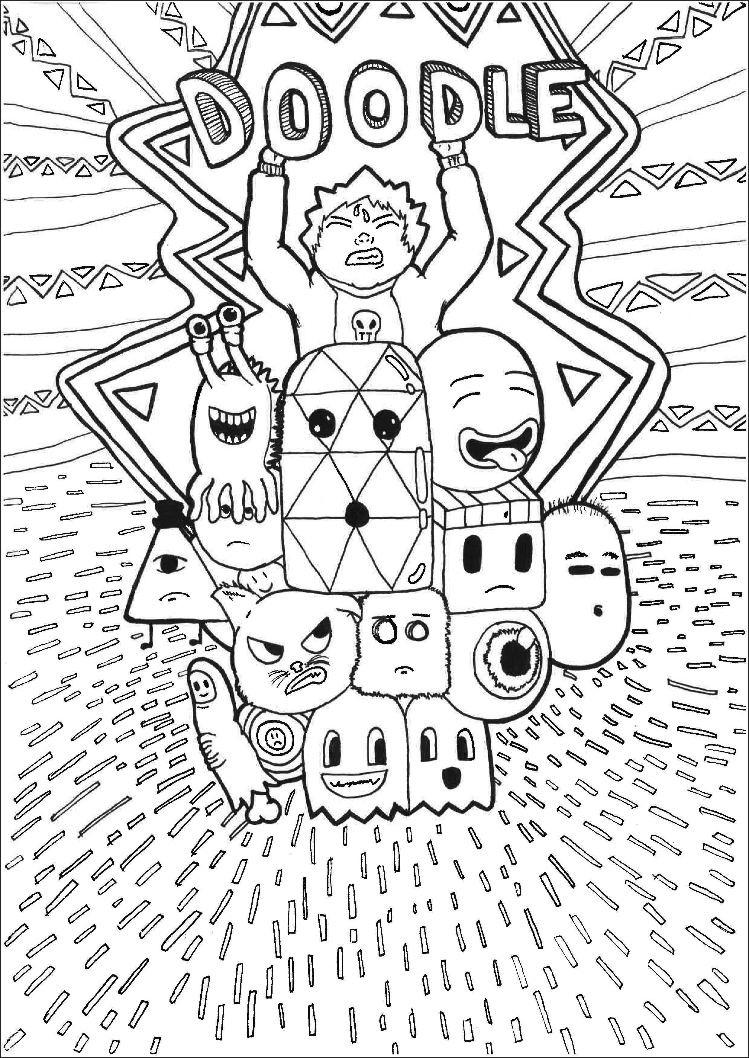 Coloriage Adulte Personnage.Doodle Personnages Doodles Coloriages Difficiles Pour Adultes