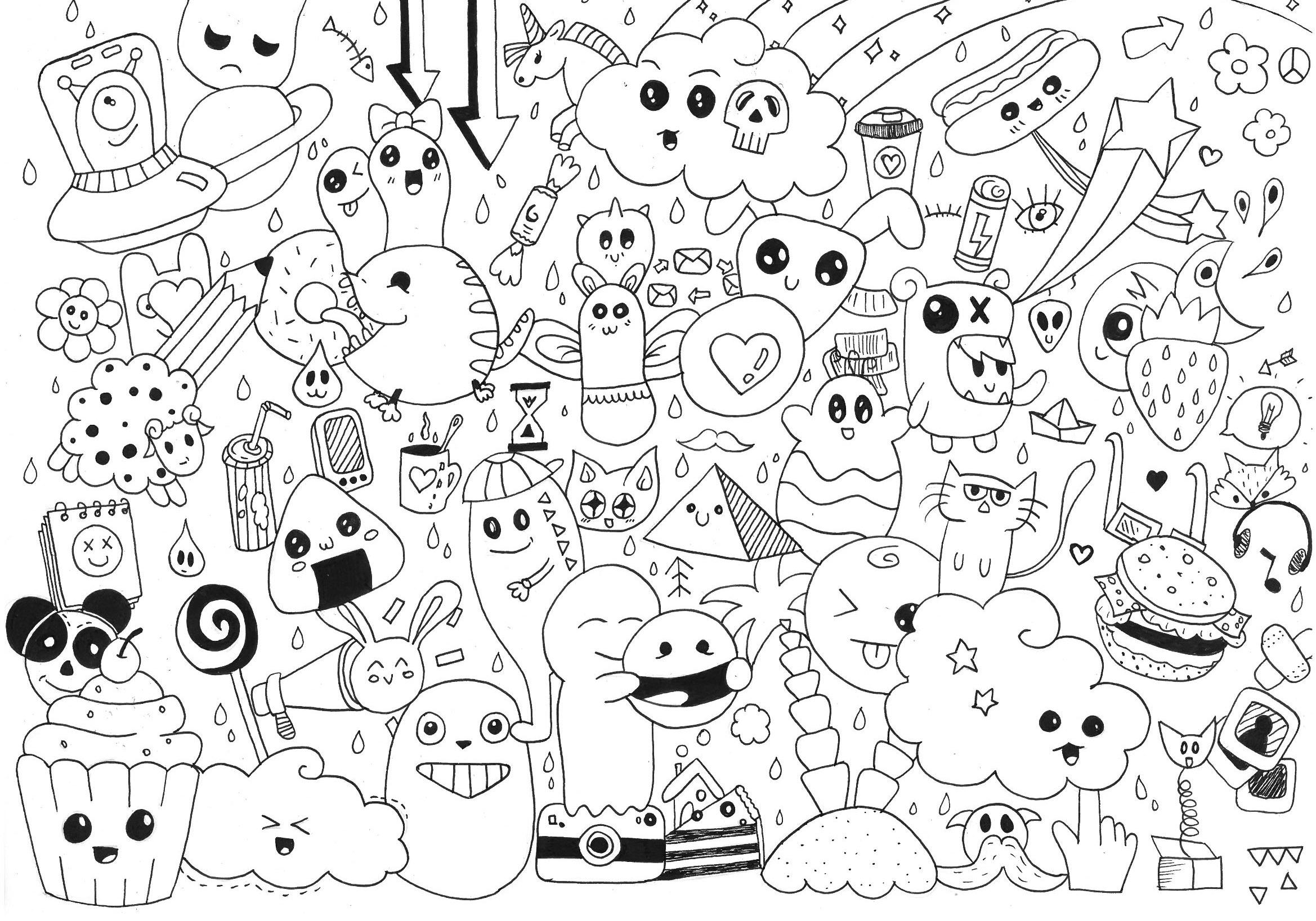 Plein de petits bonhommes, pour un Doodle sympathique et un coloriage agréable !