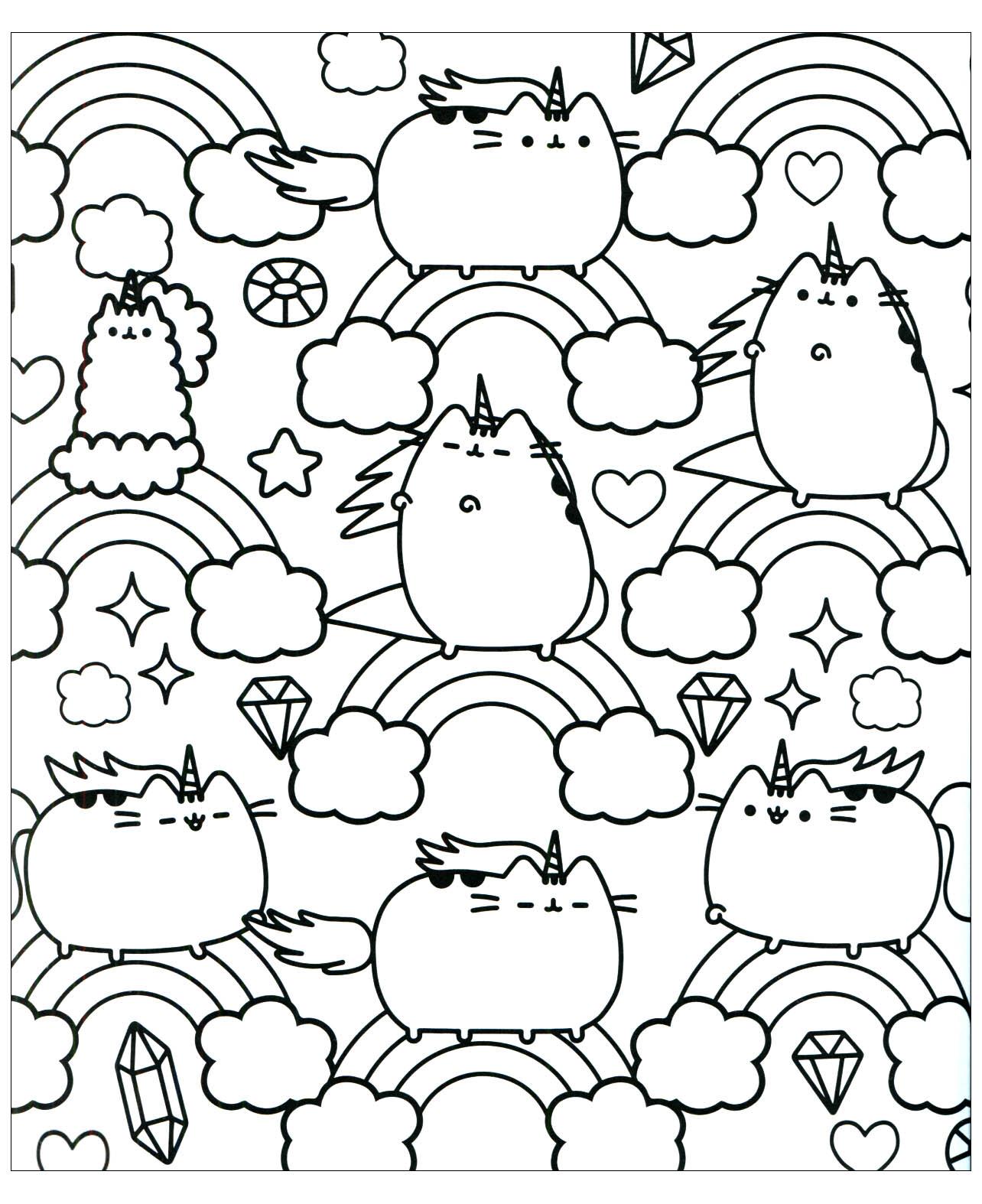 Chat pusheen et arc en ciel Doodles