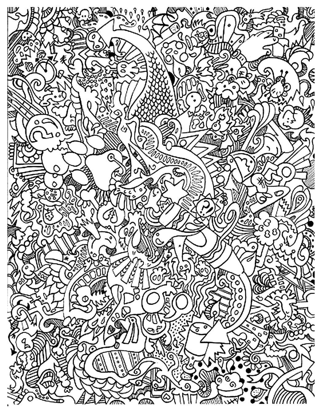 Doodling doodle art 6 doodles coloriages difficiles - Coloriage adulte difficile ...