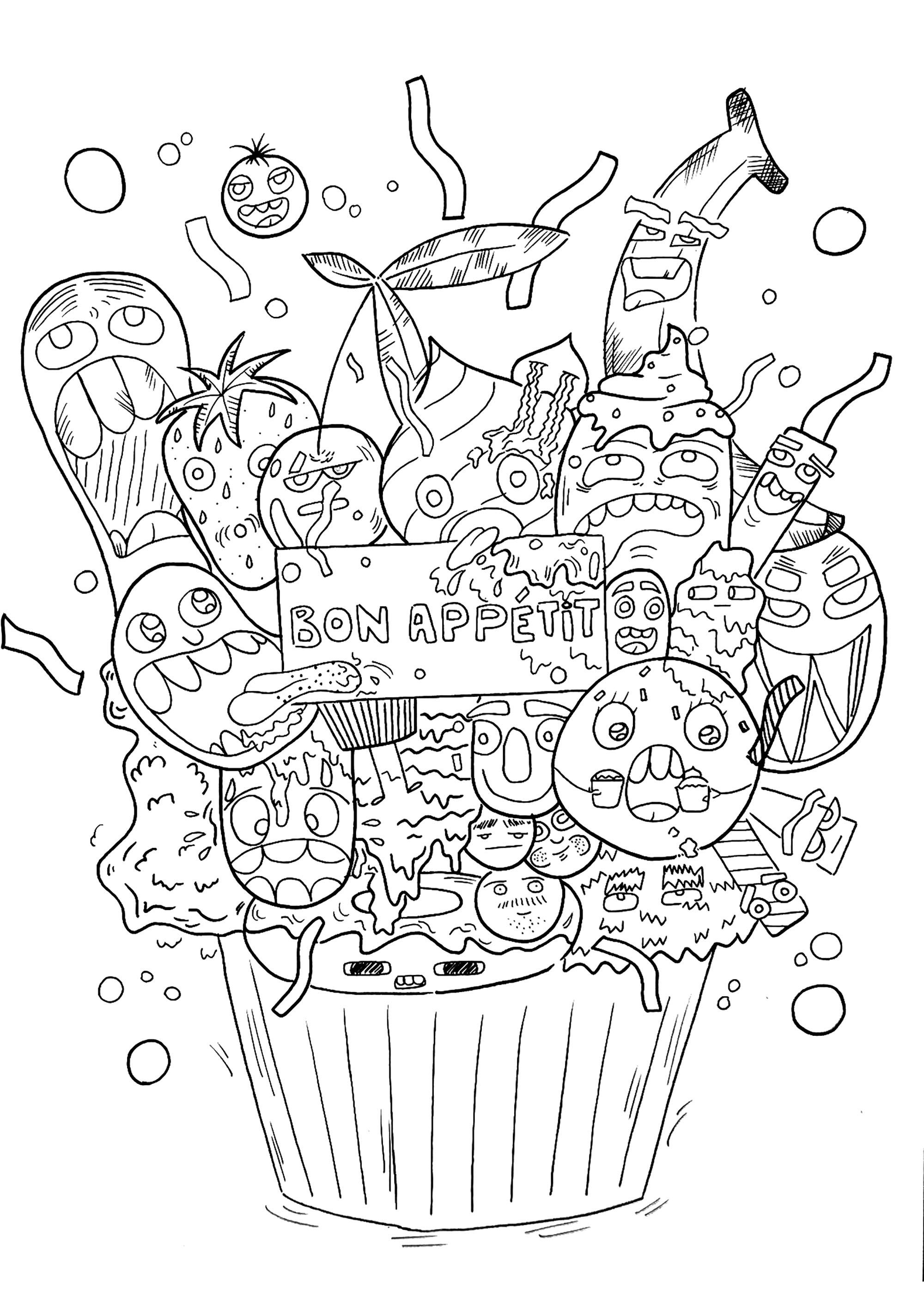 Cupcake doodle - Doodles - Coloriages difficiles pour adultes