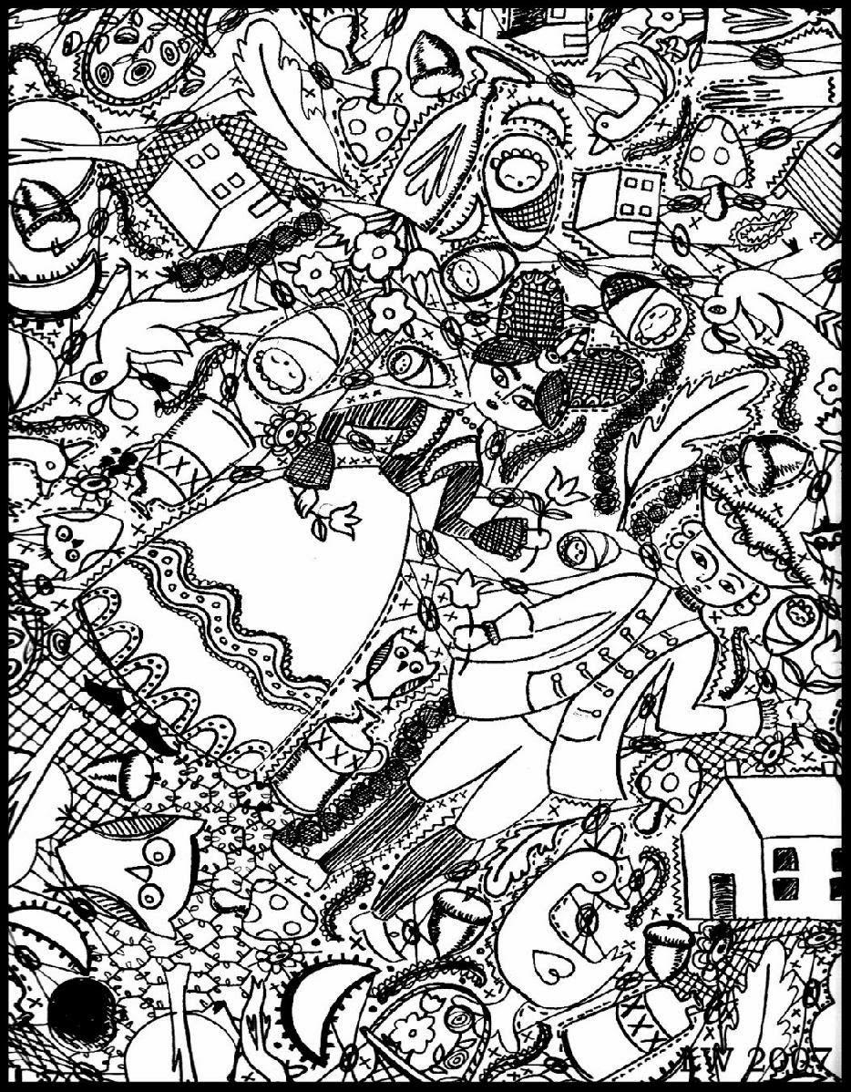 Magnifique dessin style 'doodle', avec deux personnages sortant d'une époque passée, à imprimer et colorier