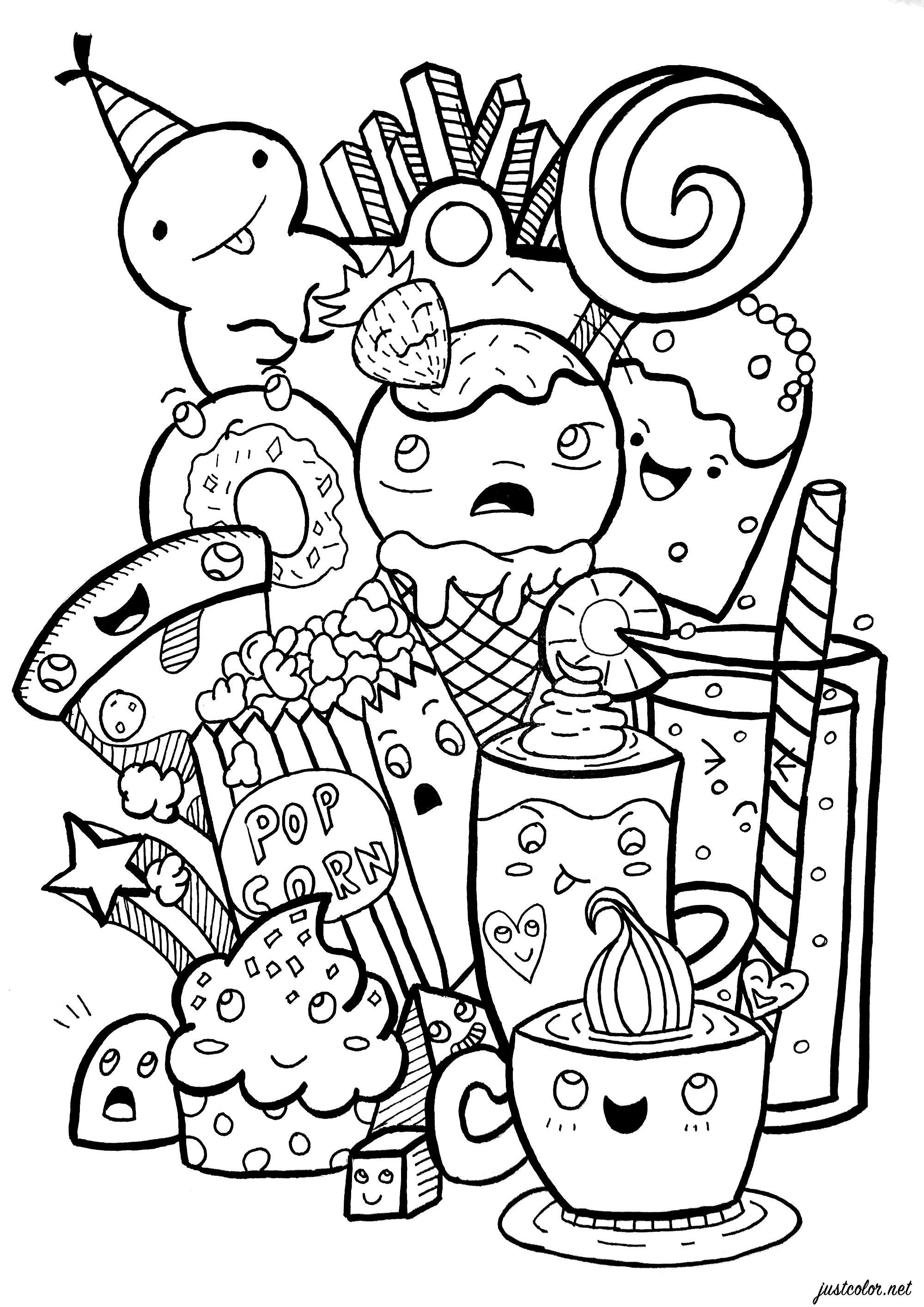 Coloriez toutes ces étranges créatures sucrées et délicieuses : pizzas, frites, cupcakes, sodas ... Attention aux calories !