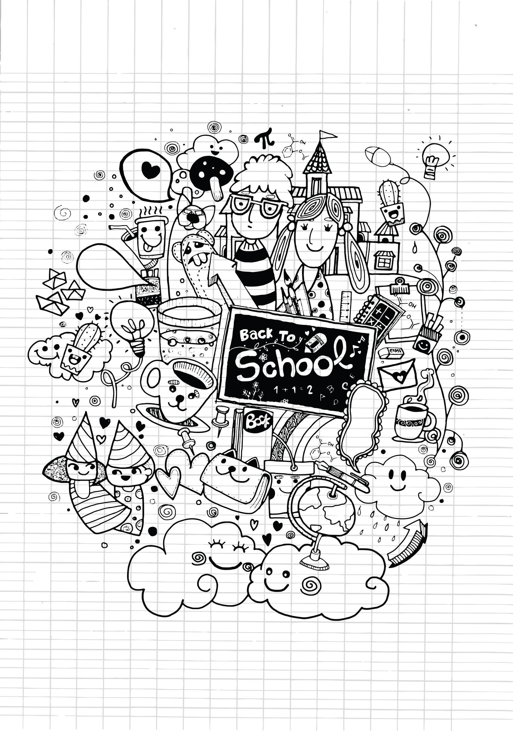 Doodle rentree des classes sur cahier doodles - Dessin classe ...