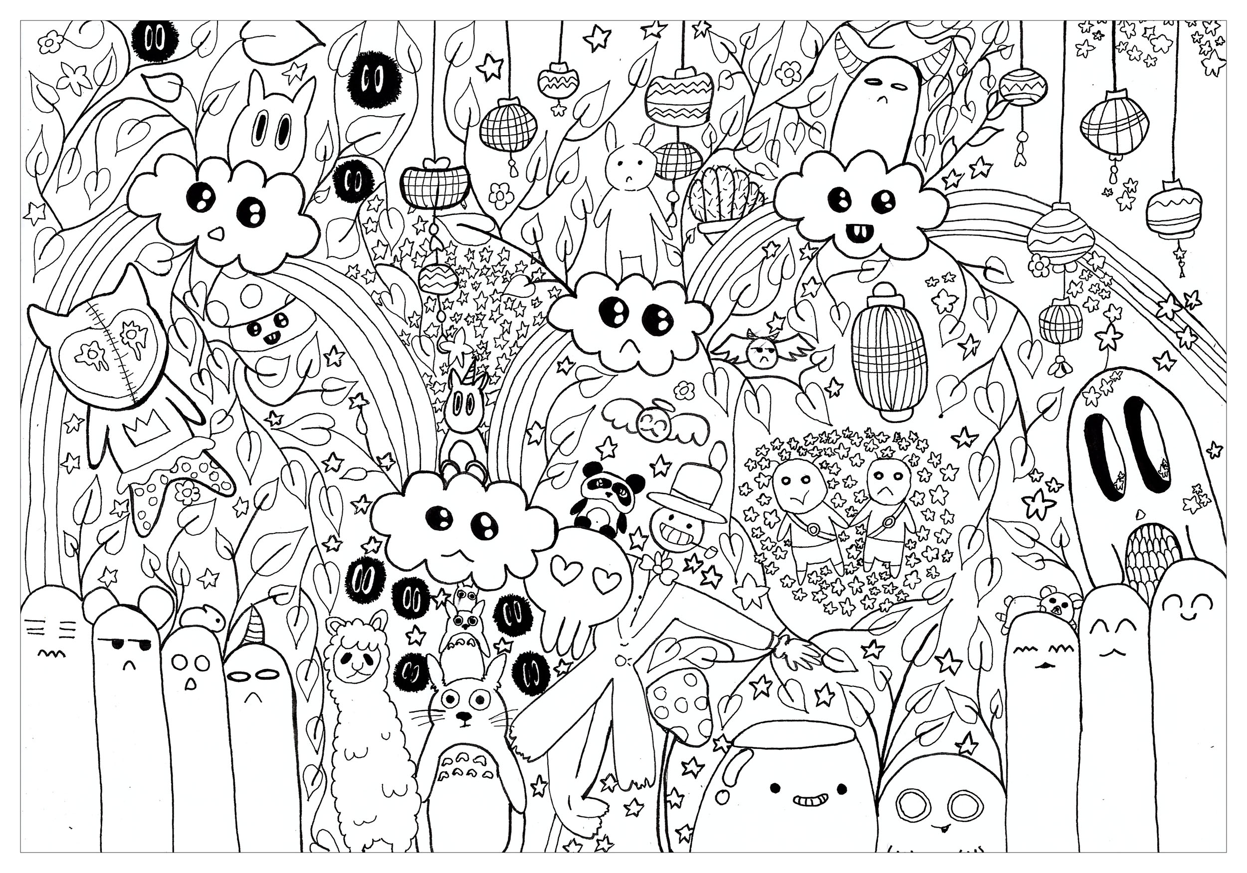 Doodle totoro doodles coloriages difficiles pour adultes - Coloriage art ...