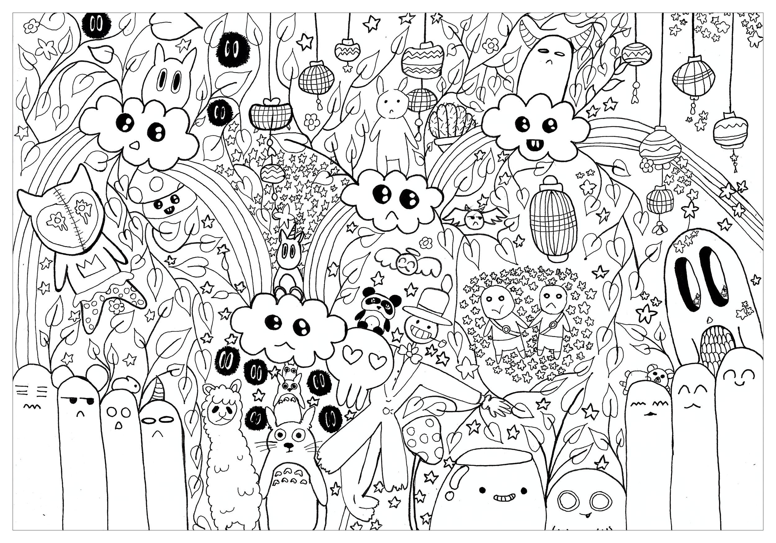 Doodle inspiré du monde de Hayao Miyazaki et du studio Ghibli, plus particulièrement du personnage de Totoro